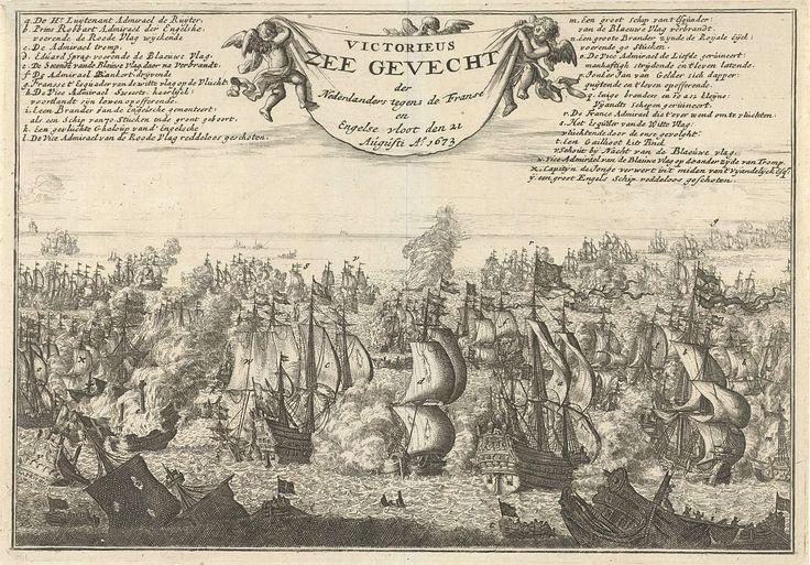 Jan Luyken | Zeeslag bij Kijkduin, 1673, Jan Luyken, Jan Claesz ten Hoorn, 1688 | Zeeslag bij Kijkduin, 21 augustus 1673. Zeeslag tussen de Hollandse vloot onder De Ruyter en Tromp en de gecombineerde Engels-Franse vloot onder prins Rupert. In de lucht houden drie putti een vellum vast. Links en rechts hiervan verklaring van de in de zeeslag geplaatste letters.