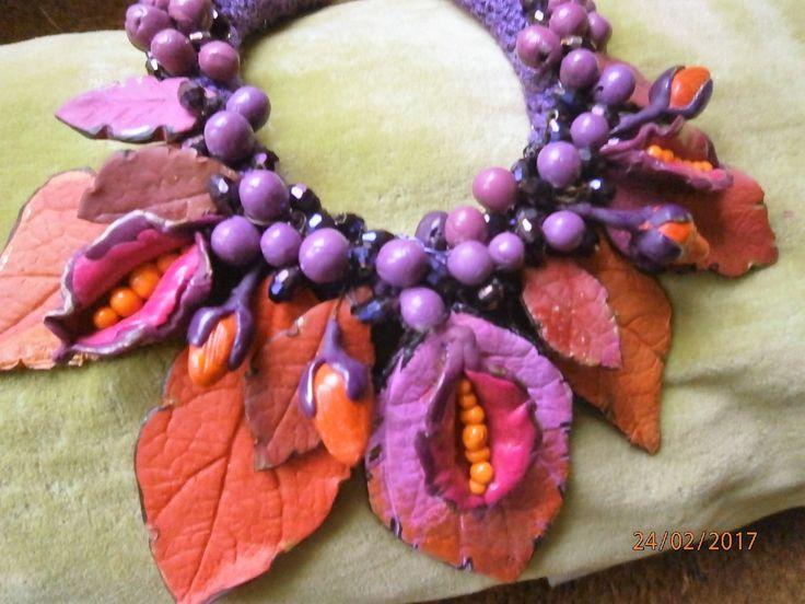 FUXIA Bacche, foglie, nei toni del viola,fuxia, rosa, arancione in argilla polimerica di PaTrieste su Etsy