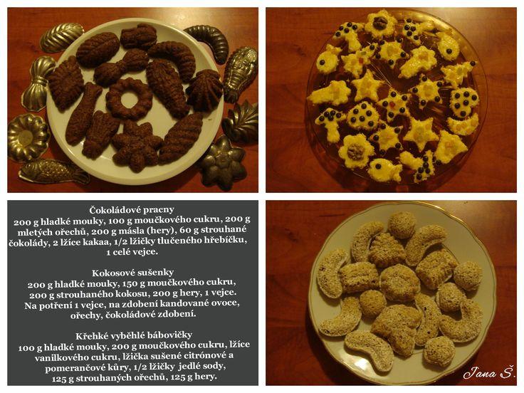 Čokoládové pracny Kokosové sušenky Křehké vyběhlé bábovičky