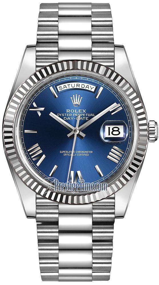 Rolex Day-Date 40mm White Gold 228239 Blue Roman