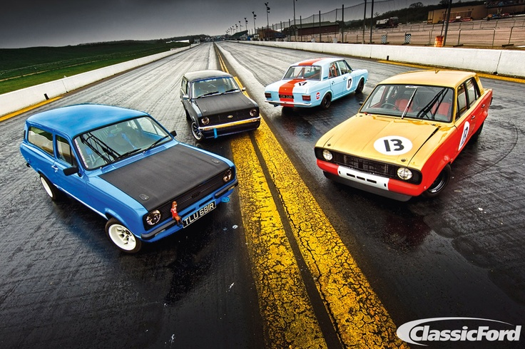 Classic Ford group shoot at Santa Pod Raceway, from the Summer 2012 issue. Photo: Phil Steinhardt