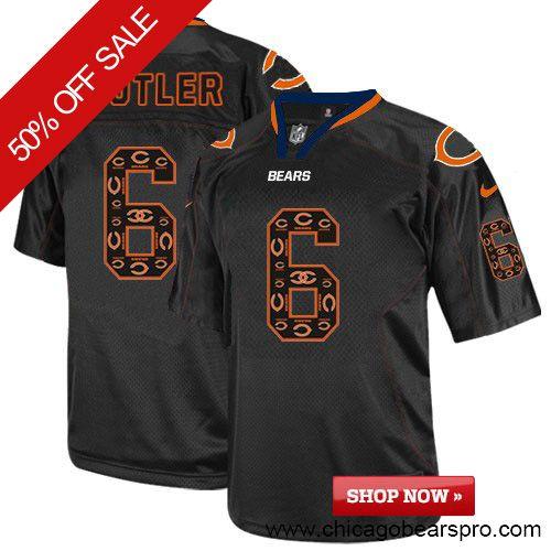 $129.99 Men's Nike Chicago Bears #6 Jay Cutler Elite New Lights Out Black Jersey