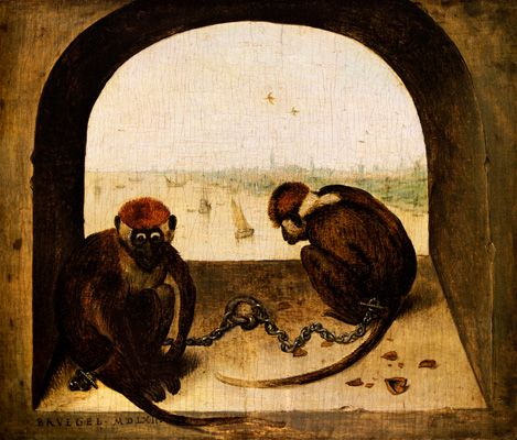 "'Two Monkeys', 1562 - Pieter Bruegel the Elder (1525-1569) |  The significance of the two monkeys, chained and squatting dejectedly, is unclear. In Christian iconography, monkeys generally represented stupidity or such vices as vanity or miserliness. The nutshells refer to a Netherlands proverb, ""to go to court for the sake of a hazelnut"". This would suggest that the monkeys had risked their freedom for something unimportant. In the background, we see a view of Antwerp from the sea."