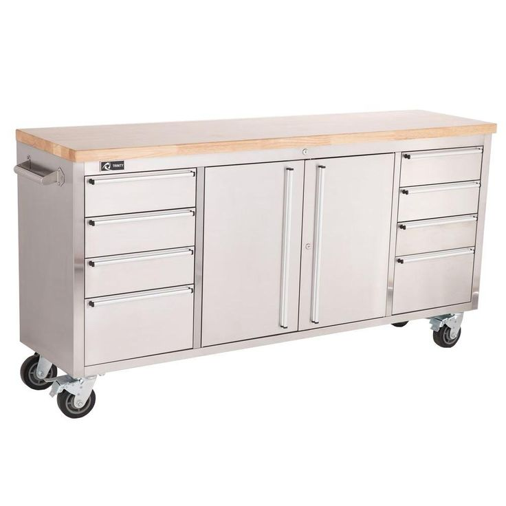 Trinity 6 ft. Stainless-Steel Corner Rolling Workbench with Storage-TLS-7204 - The Home Depot
