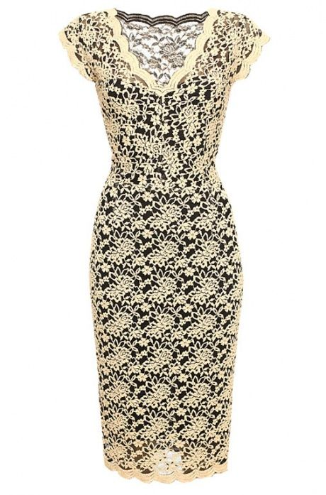 Klasyczna, wizytowa, koronkowa sukienka Orsay kolekcja jesień-zima 2013/2014