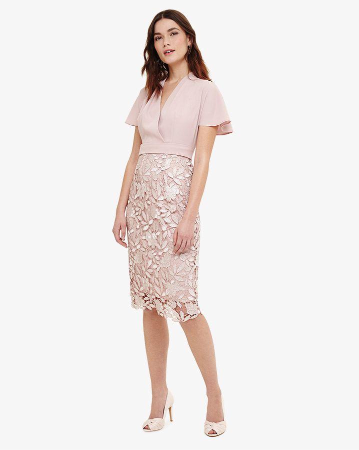 Phase Eight Moriko Lace Dress Pink