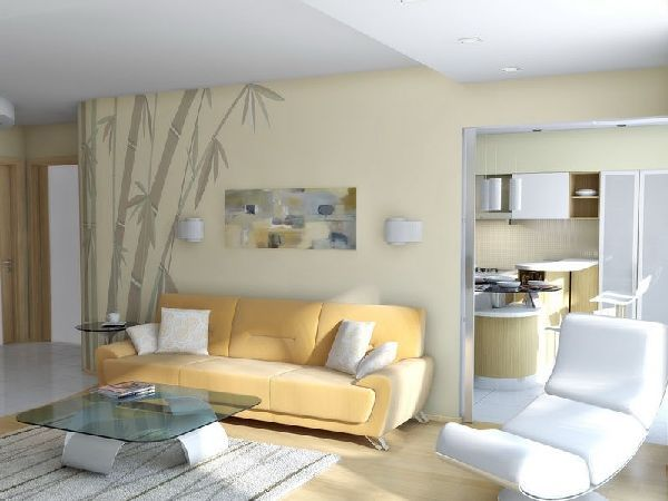 Living room wallpaper and furniture at minimalist for Asian minimalist interior design