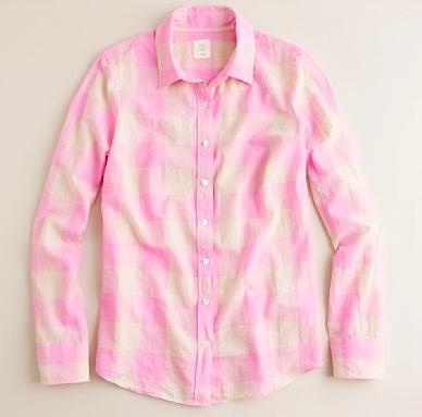 j crew shirt: Gingham Shirts, J Crew, Crew Maxi Check, Checkered Shirts, Crew Shirts, Style Pinboard, Check Pink, Jcrew, Perfect Shirts