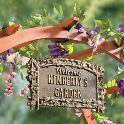 Our Personalized Garden Sign is a charming way to greet visitors.: Gardens Fun, Personal Gardens, Gardens Sculpture, Custom Plaque, Gardens Signs, Gardens Idea, Antiques Copper, Gardens Dream, Gifts Idea