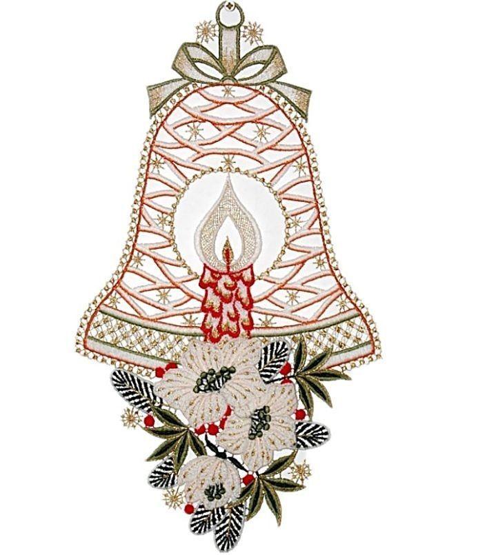 Fensterbild PLAUENER SPITZE® 16x28 cm Weihnachten ENGEL Glocke - gardinen wohnzimmer grun
