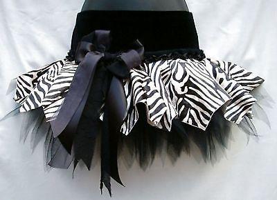 Chicas Lujo Terciopelo Tutu Zebra Animal Print Danza fase Pageant Goth Disfraz