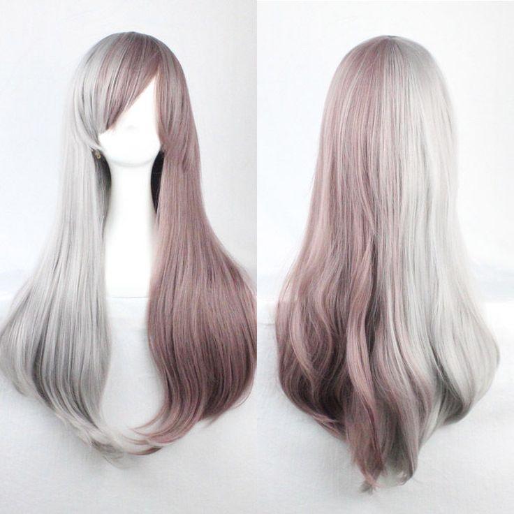 Mode Perruque gris mixte brun Longue Droite Raide Lolita Cosplay Party Full Wig