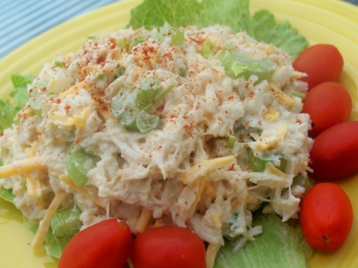 Ingredients:  14 ounces crab meat  1/2 cup mayonnaise  1­2 stalks celery (amount per preference), finely chopped  1/2 teaspoon Old Bay seasoning  1/2 teaspoon dill  salt & pepper to taste    Procedure:  Separate crab into individual pieces (only if compressed in package – if not,