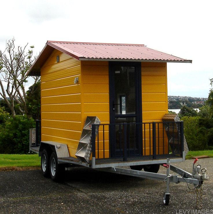 The Flying Tortoise Mini House Design Ideas On Wheels With Stunning Yellow  Color Scheme Wooden Exterior Wall And Amazing Red Zinc Materials Roof Also  ... Part 58