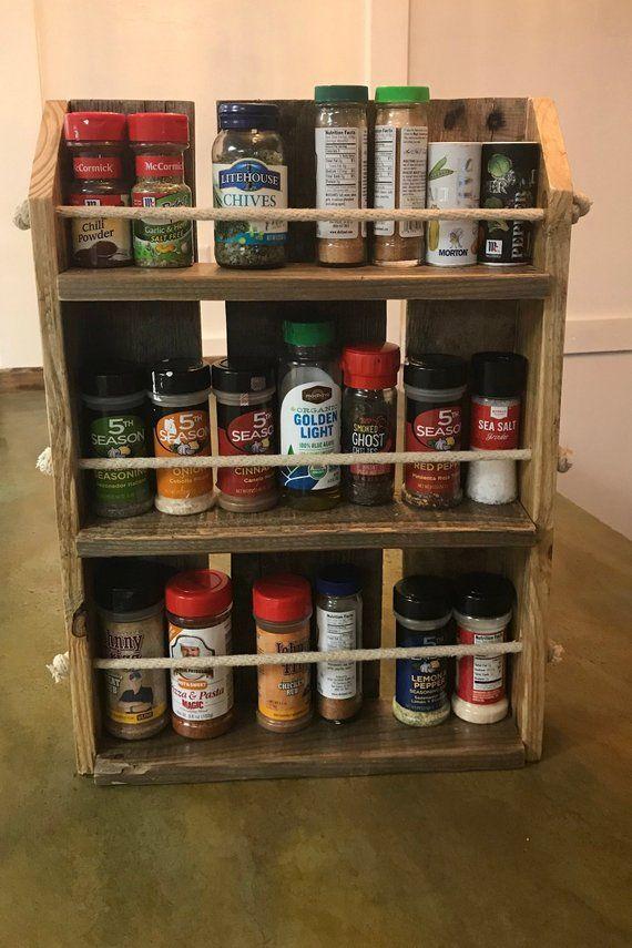 reclaimed wood spice rack countertop or hangable spice rack etsy wood spice rack spice rack countertops pinterest