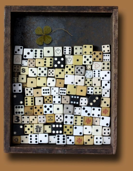 Wonder what this mixed media piece would look like with modern plastic dice. I'm building up quite a collection of those.                                                                                                                                                                                 More