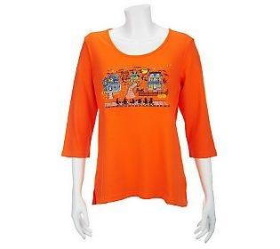 Quacker Factory Halloween Night 3 4 Sleeve T Shirt