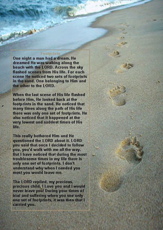Original Poem Footprints Sand Footprints Prayer Image