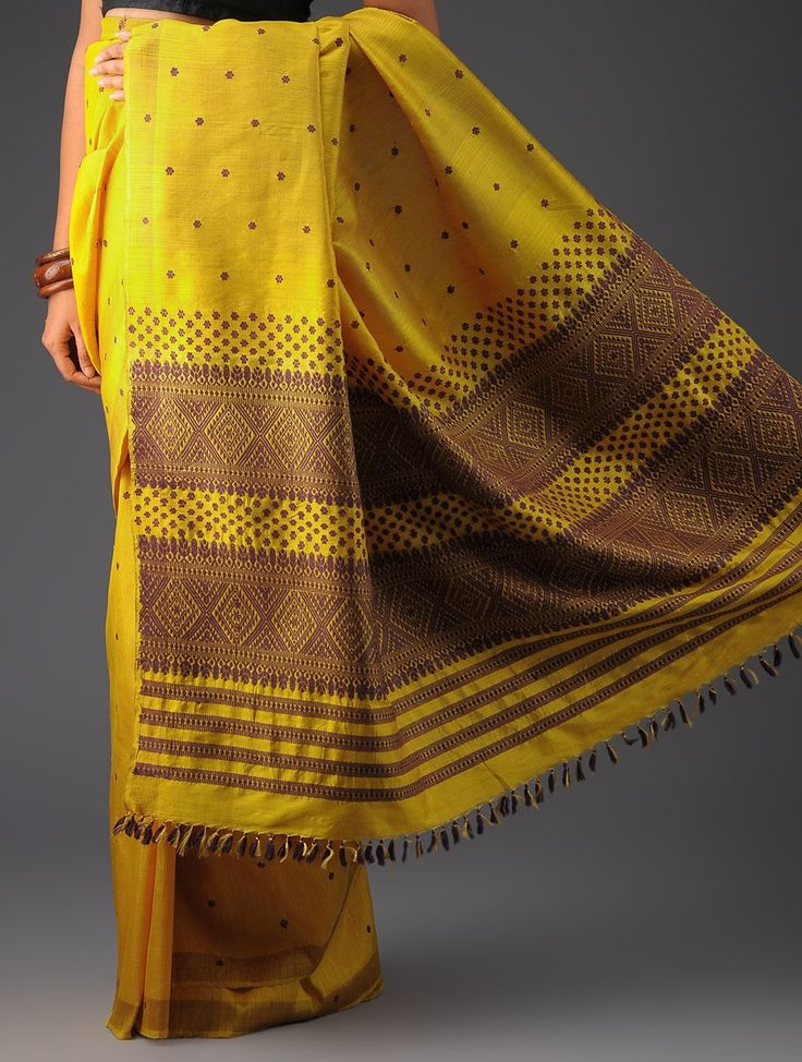 Yellow-Violet Silk Assamese Handwoven Saree Pinned by Sujayita