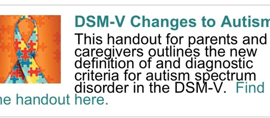 Free handout for parents and caregivers- outlines the new definition of and diagnostic criteria for autism spectrum disorder in the DSM-V. Main site http://occupational-therapy.advanceweb.com/Autism/default.aspxPinned by SOS Inc. Resources http://pinterest.com/sostherapy.
