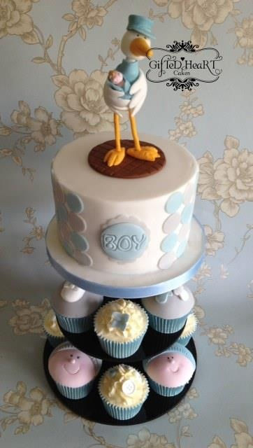 Stork Cake - Baby Shower - www.giftedheartcakes.co.uk this girl is an amazing baker, her imagination & talent is incredible
