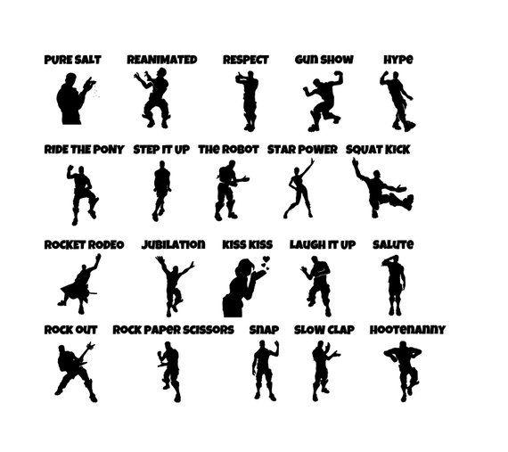 Fortnite Emotes Lot of 60 Individual Emotes SVG File Updated
