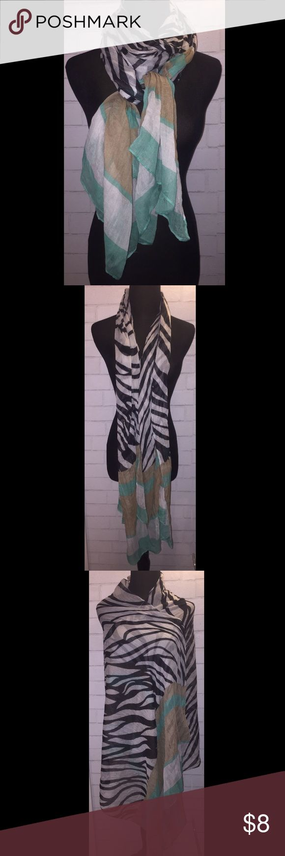 """Zebra, Teal, & Tan Mesh Scarf Zebra Print, Teal, & Tan Mesh Scarf  **PLEASE READ CAREFULLY** - Mesh Material Is Very Light & Delicate - Scarf Has Some Pulls Due to Delicate Material - Can't Notice These Minor Pulls Unless Close Up  - Pre-owned, Great Condition - From a Smoke-Free & Pet- Free Home - Mesh Material - 34"""" Width - 80"""" Length Accessories Scarves & Wraps"""