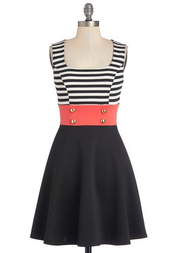Main Street Market Dress - Black, White, Coral, Stripes, Buttons, Casual, Military, Colorblocking, Sleeveless, Scoop