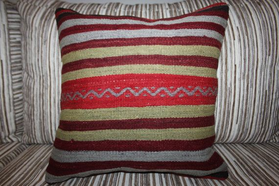 "Faded Colors Stripe Designs Cushion Cover Handmade Kilim Pillow Cover  16"" x 16"" Bright Colors Wool Kilim Rug Pillow Cases Home Decor Pillow"