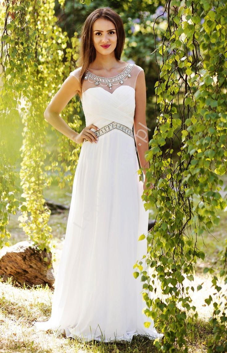 Biała suknia ślubna zdobiona kryształkami