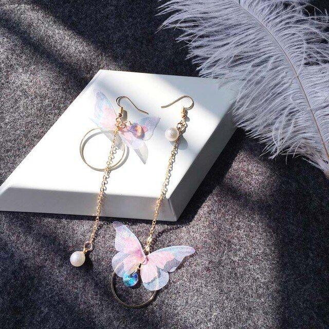 Temperamento borboleta brincos de pérola borla grande imitação de pérolas brincos longos casamento adequado   – Products