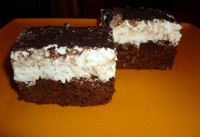 Brownie túrós-kókuszos krémmel