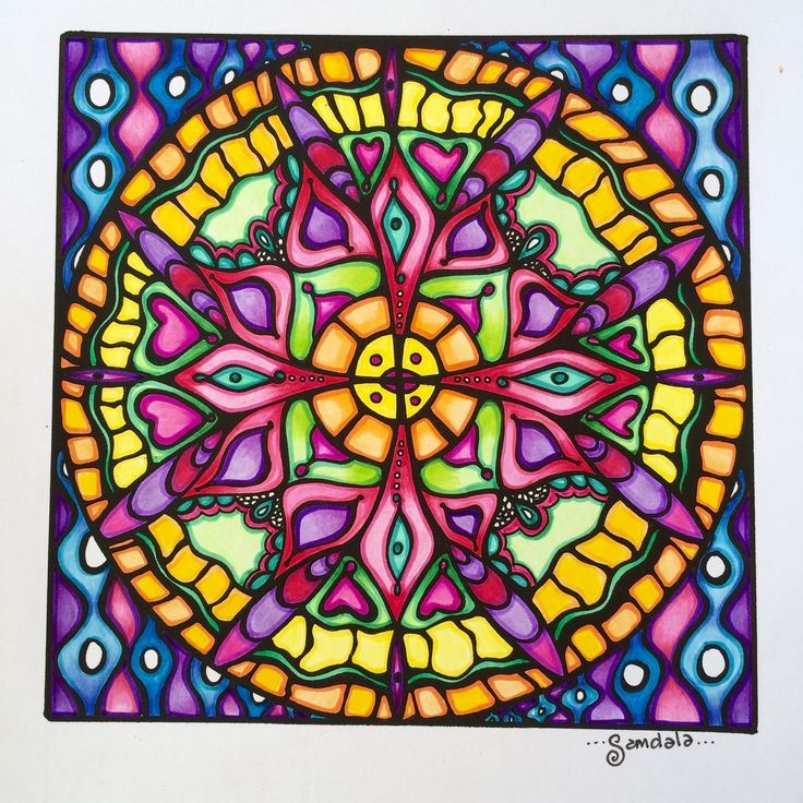 samdala mandala_012 hand drawn and colored in using pencils and felt tip pens coloring page available