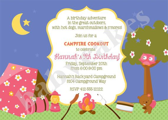 8 best kids party ideas images on pinterest for kids good ideas girl camping birthday invitation invite camping invitation camping birthday party invitation camping sleepover camp out campfire cookout filmwisefo Image collections