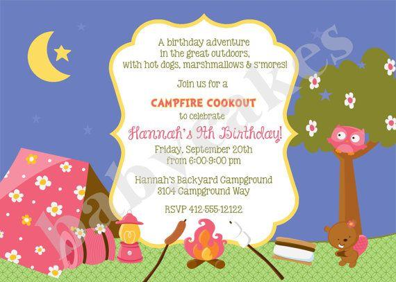 Girl Campfire Birthday Invitation Camp Out Sleepover Diy