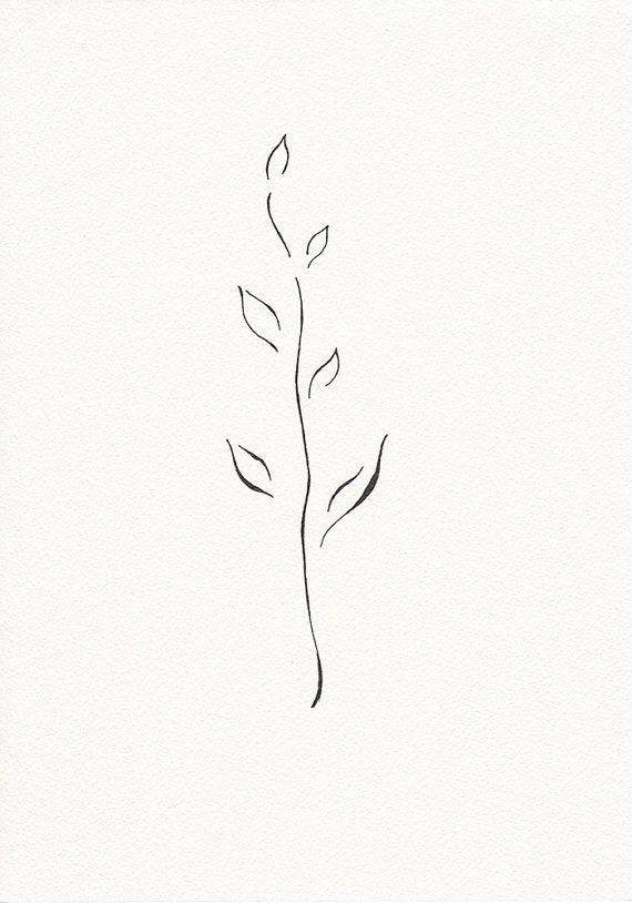 Very Minimalist Branch Drawing Black And White Ink Drawing Small Tree Line Art Leaves Modern Abstract Plant Illustration Tattoos White Tattoo Small Tattoos