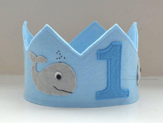 Whale Birthday Crown Felt Crown Birthday Boy by pixieandpenelope