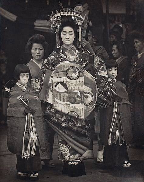 Oiran Courtesan, Japan.  Photography  by Okamoto Toyo. 1930's