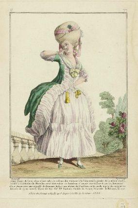 """""""Jeune Dame de Lyon vêtue d'une robe de taffetas dite Costume à la Piémontoise, garnie de la même étoffe, coeffée à l'Afirienne dit l'Herisson orné d'un ruban en bandeau d'amour entrelassé de perles, surmonté d'une plume avec une agraffe de diamant faisant une espèce de Diadême; cette mode a pris son origine au théatre de Lyon lors du séjour de Son Alte. Rle. Madame Clotilde de France, Princesse de Piémont, en 1775"""", Gallerie des Modes, 1778"""
