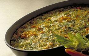 Bagte grønsager med hytteost Passer både som tilbehør til kød eller selvstændig vegetarret.