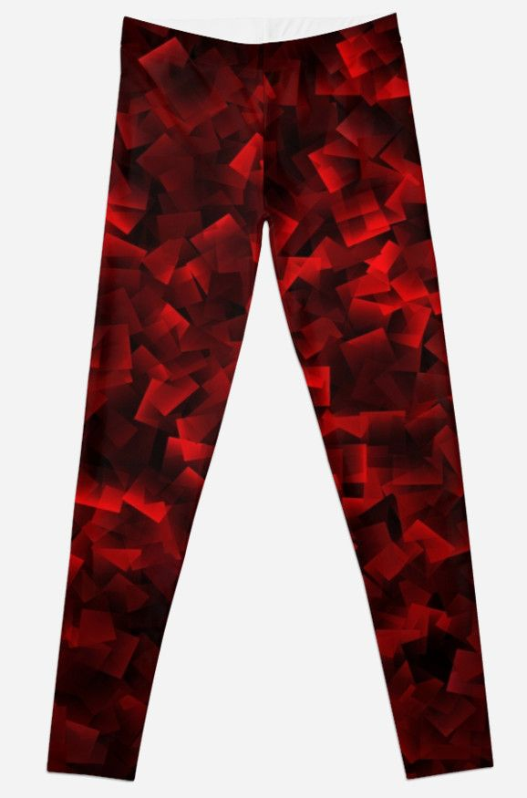 A crazy red square pattern on leggings.