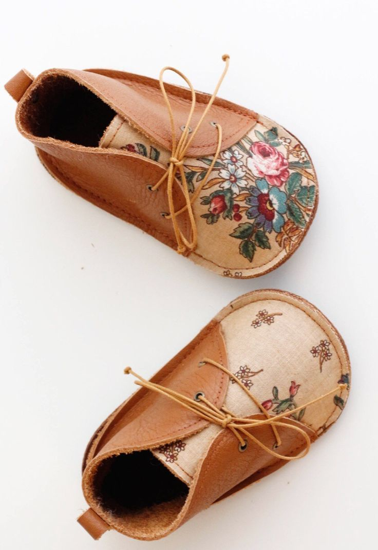 Baby Girl | Girls Fashion | Girls Clothes | Vintage | Handmade | Shoes | These little homemade shoes are just divine! In on trend tan with tiny panels of floral #baby #fashion #babygirl
