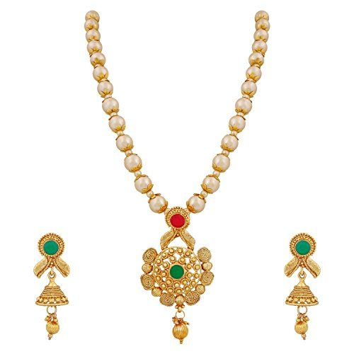Ddivaa Ethnic Gold Plated White Pearls Red & Green Stone ... https://www.amazon.com/dp/B073JGQCGZ/ref=cm_sw_r_pi_dp_x_S4YvzbGRQA17P