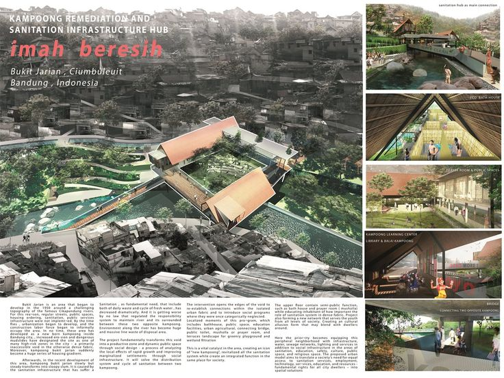 The design improves deteriorating physical and social conditions of the Bukit Jarian Kampong by introducing a sanitation hub as public space in the center of the slum and also restoring the polluted river, which has long been used as a garbage dump. Designed in a square pattern of bridges, buildings and platforms over a landfill bordering the river, the proposed hub is accessible from several sides, opening connections to the neighborhood while providing a range of public amenities.