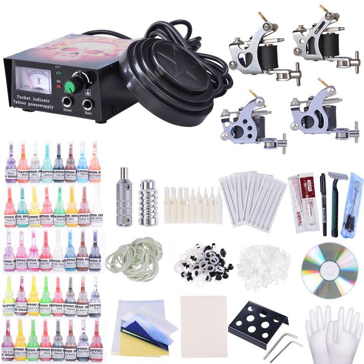 4x professional Tattoo Machines      1x top quality Power Supply System with protective device    40x Bottles of 5ml tattoo Inks