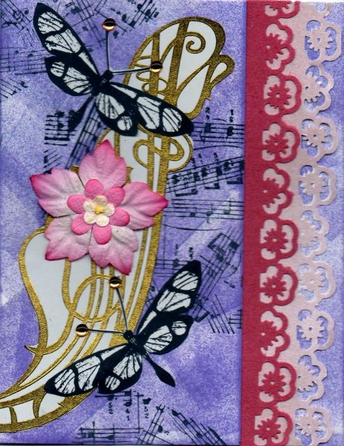 Design by Lakeslady using Anita butterfly, music by All Night Media and Martha Stewart border punches.