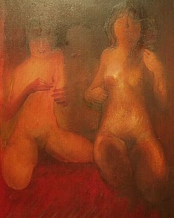 2 akty, obraz olejny na płótnie, oil on canvas by Leszek Gesiorski