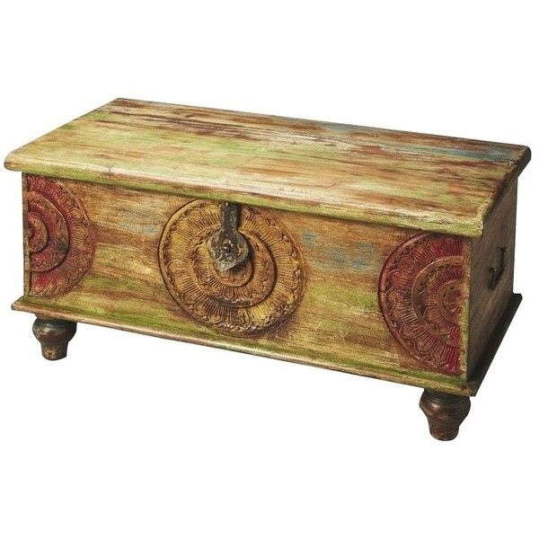 Marvelous Butler Specialty Artifacts Mesa Carved Wood Trunk Cocktail Table ($441) ❤  Liked On Polyvore Featuring Home, Furniture, Tables, Accent Tables, Two  Toned, ...