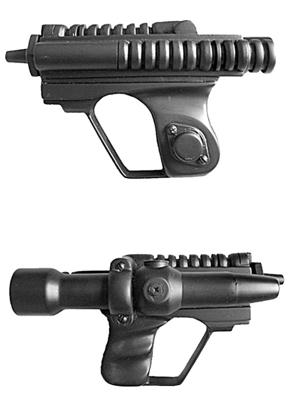 SCOUT TROOPER BLASTER / Hold-out blaster pistol DESCRIPTION: was a standard-issue weapon used by the scout troopers of the Galactic Empire. Clone scout troopers of the 41st Elite Corps and Clone shadow troopers were also known to carry these weapons during the latter stages of the Clone Wars. This compact, one-handed blaster was fitted with a side-mounted targeting scope and phase amplifier, and featured a miniature gas cell on the rear.