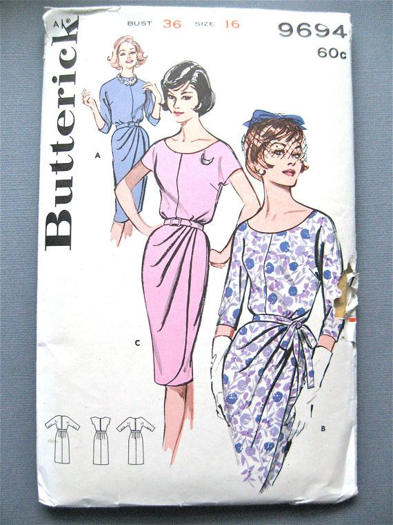 Early 60s Draped Sheath Dress Pattern by Butterick by Fancywork, $22.00